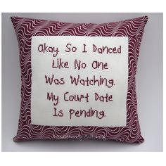 Funny Cross Stitch Pillow, Cross Stitch Quote, Burgundy Maroon Pillow, Dance Quote. $20.00, via Etsy.
