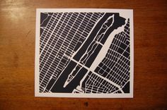 Made by my brother! New York City Roosevelt Island paper map cut by Kartegraphik, $80.00