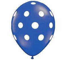 $0.90 Royal Blue Polka Dot Latex Balloons