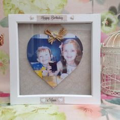 personalised framed gift photo heart family by DecTheHallsCrafts Photo Heart, Box Frames, Happy Birthday, Unique Jewelry, Handmade Gifts, Vintage, Etsy, Happy Brithday, Kid Craft Gifts
