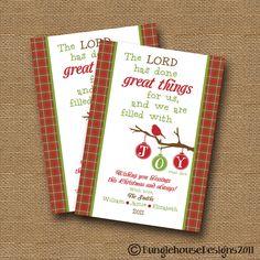 "Christmas DIY PRINTABLE ""Filled with Joy"" Scripture Bible Verse Christmas Card. $12.00, via Etsy."