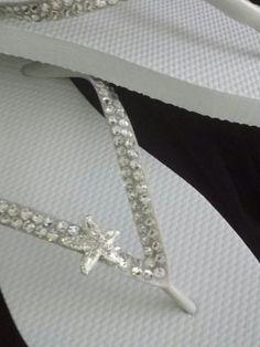 Swarovski Crystal Rhinestone Starfish Flip Flops- Size 8 by SatinSassy on Etsy