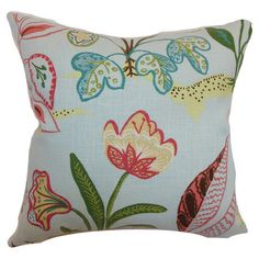 Found it at Wayfair - Unayzah Floral Linen Pillow in Blue