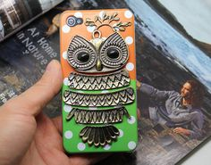 Antique Brass Owl And Transparent Plastic Hard Case Cover for Apple iPhone 4 Case