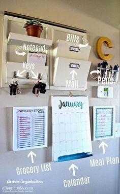 Parent Command Center for Busy Moms is part of Home command center Has clutter got you down Learn how to make your own functional family command center and stop feeling like an overwhelmed parent - Parent Command Center, Command Center Kitchen, Organizing Hacks, Organising, Organizing Bills, Decluttering Ideas, Organizing Your Home, Home Organisation, Organization Ideas For The Home