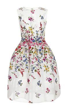 Oscar de la Renta Sheer Embroidered Dress Multi