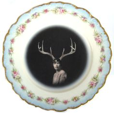 Deer Liza altered limoges plate from Beatupcreations--[ I imagine a set of these altered salad plates over larger black depression glass plates.].