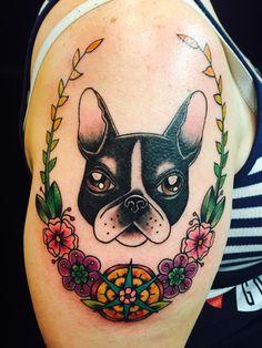 Tattoos to Honor our Four Legged Friends Diy Tattoo, Tattoo Blog, Tattoo Ideas, Masculine Tattoos, Feminine Tattoos, Boston Terrier Tattoo, Train Tattoo, Becoming A Tattoo Artist, Freundin Tattoos