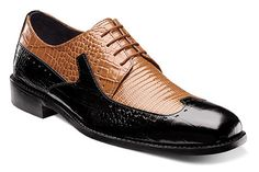 An unbeatable Stacy Adams fashion dress shoe! These unique and rich colors can set off a number of our suits. It is a wing-tip oxford featuring crocodile and li