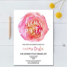 Hen Night Invitation - Watercolor with modern calligraphy Invite for a Hen Party! Now I want a Hens Day.
