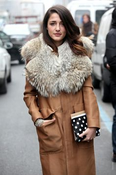Big fur Collar #fashion#street#style#outfit