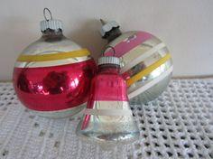 Vintage Mercury Glass Ornaments Set of 3 Shiny Brite by myfancies