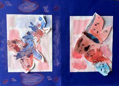 thema: vlinders in de kleuren rood-blauw-paars mengen en tekenen en plakken op papier. gemaakt door twee kinderen van 5 en 6 jaar.