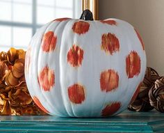 DIY Modern White and Orange Ikat Pumpkin, one of No Carve DIY Halloween Pumpkin Decorating Ideas: The Ultimate Roundup! Holidays Halloween, Halloween Crafts, Happy Halloween, Halloween Decorations, Halloween 2020, Pumpkin Crafts, Fall Crafts, Holiday Crafts, Pumpkin Carving