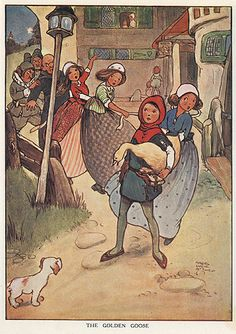 """""""The Golden Goose"""" illustration by Mabel Lucie Attwell - From the Brother's   Grimm Fairy Tales Collection - England pub (1904)"""