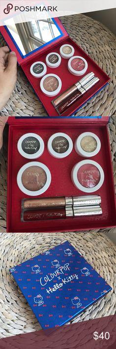 Colourpop x hello kitty makeup set Never used! 3 shadows, 2 blushes, 1 matte lip and 1 gloss! Colourpop Makeup Eyeshadow