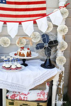{Ella Claire}: Vintage 4th of July Party Decor Ideas napkin and book page banner tutorial