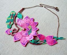 lace necklace - steampunk bib necklace - shabby boho chic - Fabric jewelry - pink lotus flower green leaf - copper