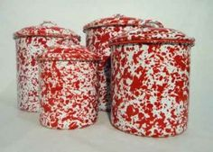 Enamelware Storage Canister Set, Red Marble