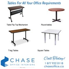 Whether it be educational, administration, facilitation or display, we can find just the right table or tables needed for your office environment!