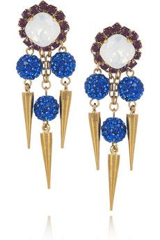 ERICKSON BEAMON  Field Of Dreams 22-karat gold-plated Swarovski crystal earrings