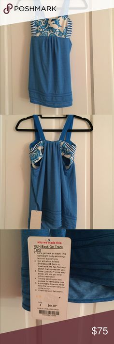 NWT lululemon RUN: Back On Track Tank Size 4 NWT lululemon RUN: Back On Track Tank Size 4  Blue body with blue and white bra (lace floral pattern and stripes -lightweight body skimming tank -anti-stink knitted silverscent fabric -chafe resistant lululemon athletica Tops Tank Tops
