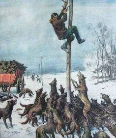 z- Wolves Chase Man Up Pole- 'La Domenica del Corriere'- Feb. Art Pulp Fiction, Fantasy Fiction, Pulp Art, Art Bizarre, Weird Art, Art And Illustration, Fantasy Drawings, Fantasy Art, Art Apocalypse