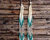 Boho Fashion, Shoulder Duster Earrings, boho jewelry, seed beads, Turquoise earrings, Native American Inspired, Tribal, Bohemian, unique