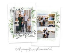 Merry Christmas Photos, Custom Christmas Cards, Christmas Card Template, Christmas Photo Cards, Holiday Cards, Card Templates, Floral Watercolor, Heart Designs, Printable