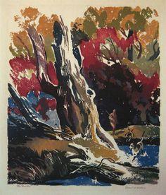 The Hunter. Ernest W Watson Linoleum block print