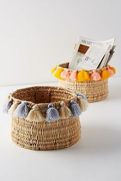 Tasseled Basket, chosen for your boho lifestyle. Presented by Anthropologie for $52 each, your choice. #affiliate #bohostyle #bohohome #giftsforher