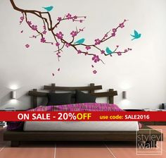 Cherry Blossom Branch and Birds Wall Decal EXTRA by styleywalls