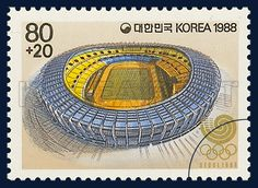 Postage Stamp of Seoul Olympic 1988, Olympic Stadium, Architecture, Blue, Orange, 1988 05 06, 88 서울올림픽, 1988년 5월 6일, 1536, 올림픽 주경기장, postage 우표