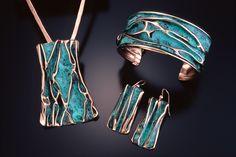 Turquoise Patina Set - Earth and Sky Jewelry Enamel Jewelry, Copper Jewelry, Clay Jewelry, Jewelry Sets, Jewelry Making, Jewellery, Geek Jewelry, Gothic Jewelry, Jewelry Necklaces