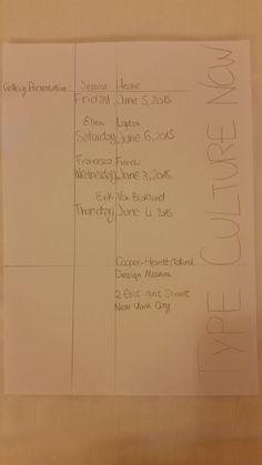 1 Type culture Now 2 Gallery presentation: 3 Friday june 5 2015, Saturday June 6 2015, Wednesday june 3 2015, Thusday june 4 2015. 4 Jessica Hische, Ellen Lupton, Francesco franchi, Erik Van Blokland. 5 cooper-hewitt, national, design museum, 2east 91st street new yourk city.