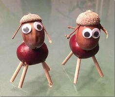 Autumn Crafts, Halloween Crafts For Kids, Nature Crafts, Kids Crafts, Diy And Crafts, Christmas Crafts, Arts And Crafts, Creepy Halloween Food, Acorn Crafts
