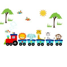 This cute safari animal train graphic will be a great addition to any child's room. The WallFlair removable fabric is a 100-percent woven polyester fabric with a removable, repositionable, reusable adhesive.