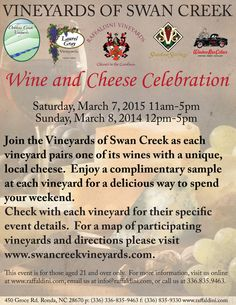 Vineyards of Swan Creek Association Wine and Cheese Celebration, Saturday, March and Sunday, March 2015 Romantic Night, March 7, Four Seasons, Wine Tasting, Swan, Wines, Vineyard, Celebration, Sunday