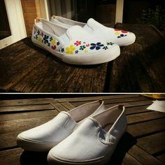 Schoenen met textielstiften mooier gemaakt!