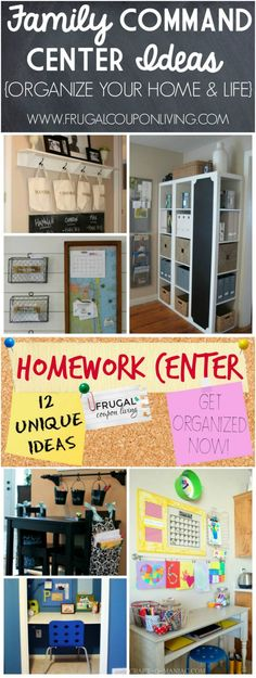 Home Command Centers Ideas and Inspiring Homework Centers on Frugal Coupon Living. Organize your life and home before the Back to School Season. Home Organizing Ideas.