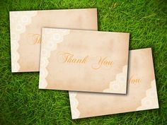 Vintage Rustic Formal Elegant Gold Lace Customizable Wedding Thank You Card - Double Sided DIY Printable