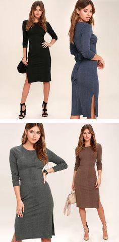 Be careful or you might just get mesmerized by the Wrapped Around Your Finger Bodycon Midi Dress! Ribbed knit has a heathered look as it forms a rounded neckline, long sleeves, and a figure-flaunting bodice accented with a waist tie at back. Midi skirt has long, side slits. #lovelulus