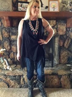 Sleeveless tunic with an embroidered floral print, crew neck and fringe hem. Buttons at back. S/M- 4-8.  L/XL 10-14 Classy Cowgirl Co- Gypsy Cowgirl ,Fun &amp