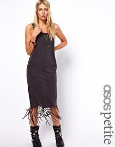 ASOS PETITE Midi Dress in Acid Wash With Fringe Hem