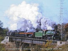 Awsome steam power! NW 1218 & 611, & Southern 4501 pulling a excursion passager train.