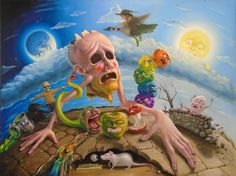 Here we go round the prickly apple at 5 o'clock in the morning - Stephen Gibb, oil on panel, 2017www.stephengibb.com/gal...