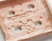 Scrubber Porcelain Soap Dish / Soap Holder Square Soft Orange / Coral