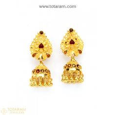 22K Gold Jhumkas - Gold Dangle Earrings - 235-GJH1795 - Buy this Latest Indian Gold Jewelry Design in 7.450 Grams for a low price of $452.55 Indian Gold Jewellery Design, Gold Temple Jewellery, Gold Jewelry, Jewelry Design, Gold Earrings Designs, Gold Drop Earrings, Women's Earrings, Cheap Jewelry, Jewelry Gifts