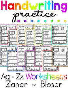 Free handwriting vic modern cursive letter formation charts this handwriting practice no prep packet includes 26 x bw handwriting practice worksheets in zaner fandeluxe Image collections