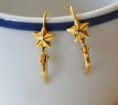 Brass Lever Back Ear Wires with Star Adornment by yummytreasures, $2.69